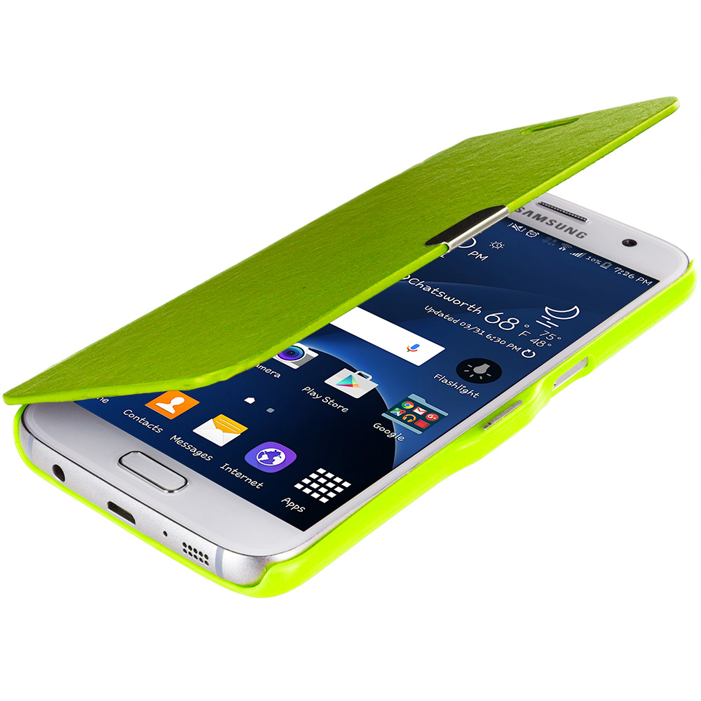 Samsung Galaxy S7 Combo Pack : Neon Green Magnetic Flip Wallet Case Cover Pouch : Color Neon Green