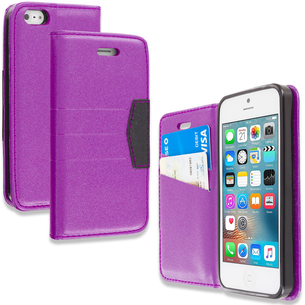 Apple iPhone 5/5S/SE Purple Wallet Flip Leather Pouch Case Cover with ID Card Slots