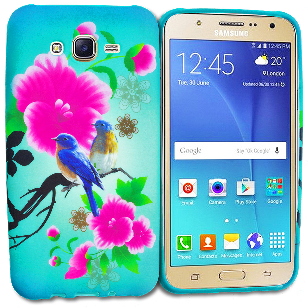Samsung Galaxy J7 Blue Bird Pink Flower TPU Design Soft Rubber Case Cover