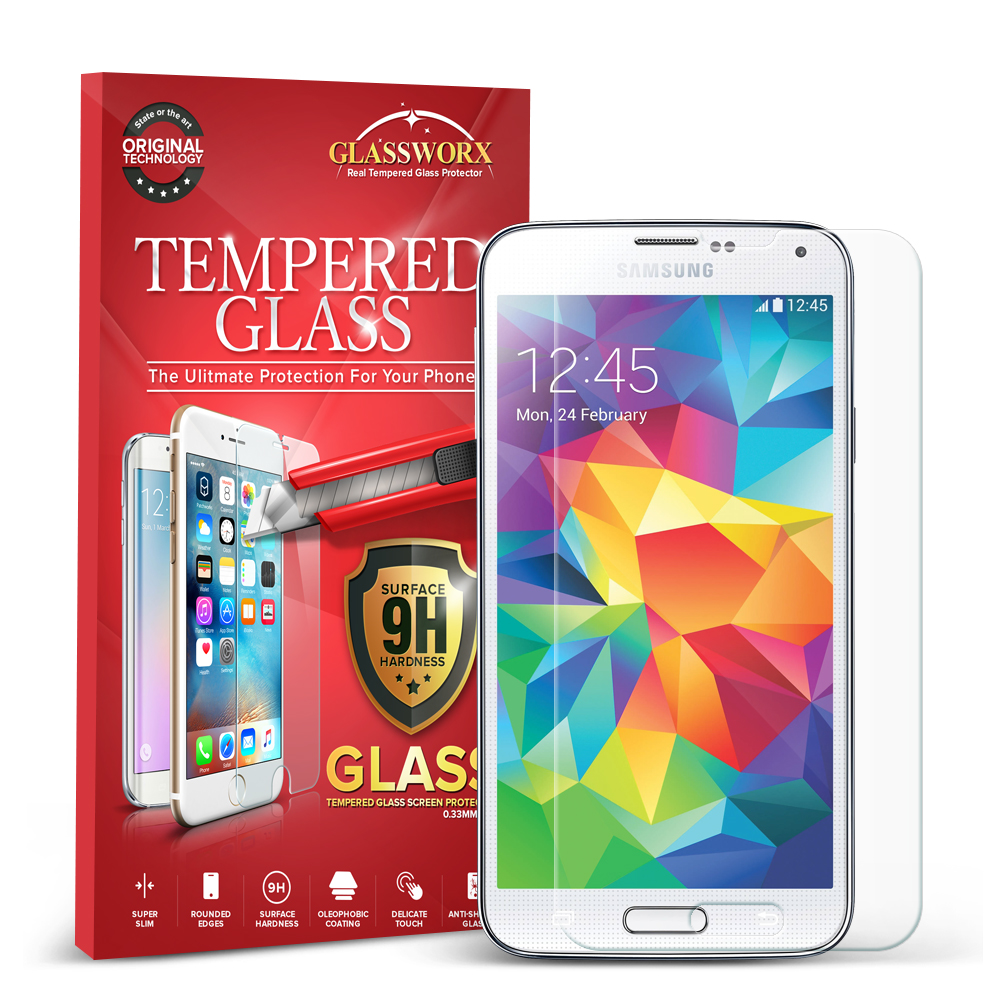 Samsung Galaxy S5 GlassWorX HD Clear Tempered Glass Screen Protector