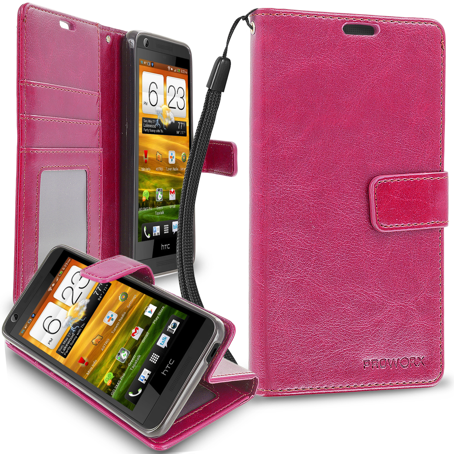HTC Desire 626 / 626s Hot Pink ProWorx Wallet Case Luxury PU Leather Case Cover With Card Slots & Stand