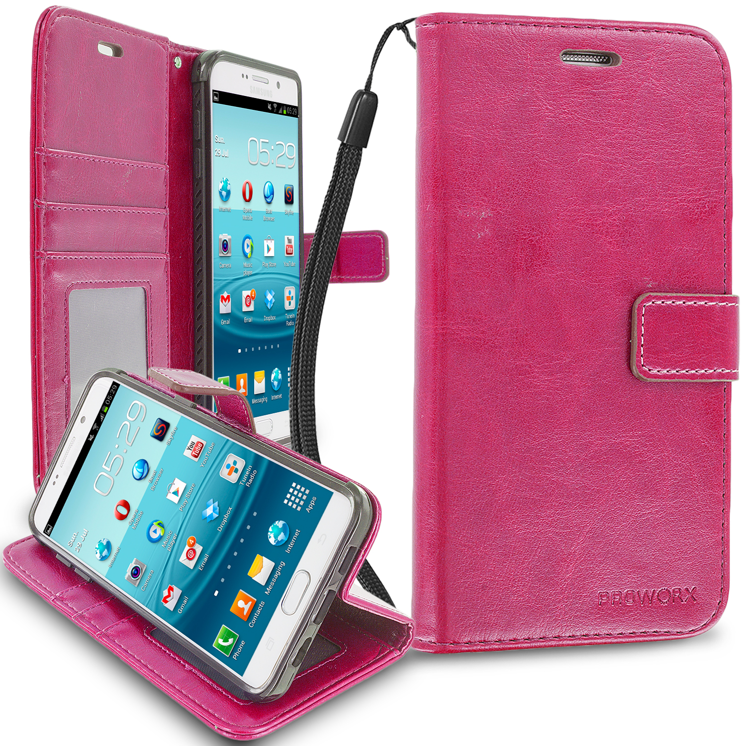 Samsung Galaxy S6 Edge Hot Pink ProWorx Wallet Case Luxury PU Leather Case Cover With Card Slots & Stand