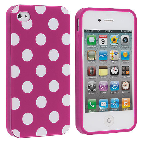 Apple iPhone 4 / 4S 2 in 1 Combo Bundle Pack - Baby Blue / Pink TPU Polka Dot Skin Case Cover : Color Purple / White