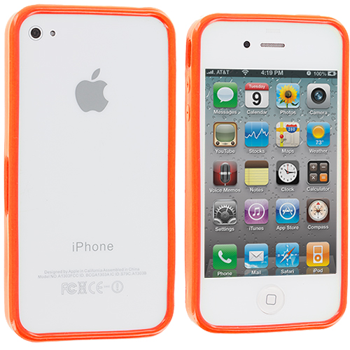 Apple iPhone 4 / 4S 2 in 1 Combo Bundle Pack - Yellow Orange Solid TPU Bumper : Color Orange Solid