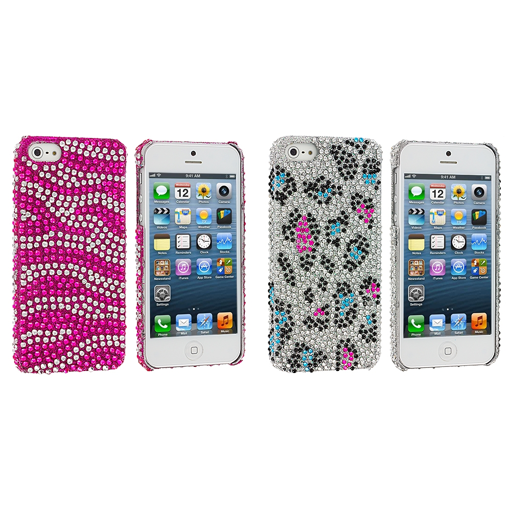 Apple iPhone 5/5S/SE 2 in 1 Combo Bundle Pack - Hot Pink / Leopard Zebra Bling Rhinestone Case Cover