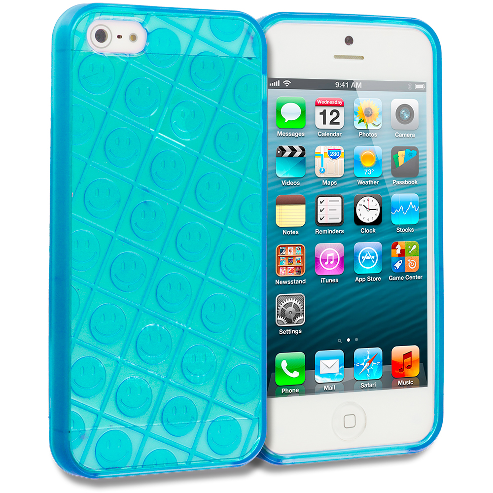 Apple iPhone 5 Combo Pack : Blue Happy Face TPU Rubber Skin Case Cover : Color Blue Happy Face