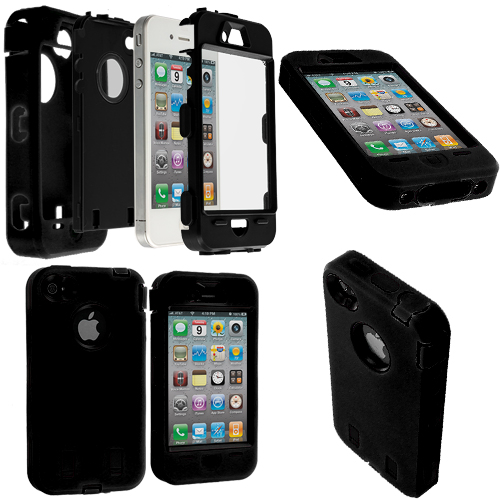 Apple iPhone 4 / 4S 2 in 1 Combo Bundle Pack - Black / White + Protector Hybrid Deluxe Hard/Soft Case Cover : Color Black / Black + Protector