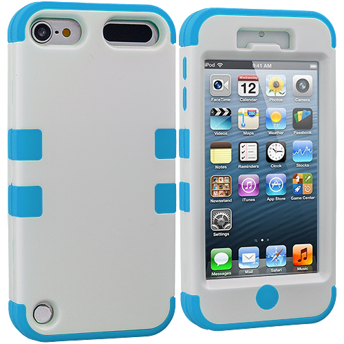 Apple iPod Touch 5th 6th Generation 2 in 1 Combo Bundle Pack - Baby Blue / White Hybrid Tuff Hard/Soft 3-Piece Case Cover : Color Baby Blue / White