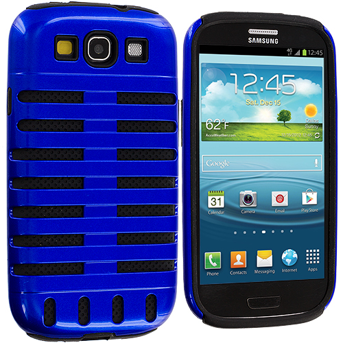 Samsung Galaxy S3 2 in 1 Combo Bundle Pack - Black / Blue Hybrid Ribs Hard/Soft Case Cover : Color Black / Blue