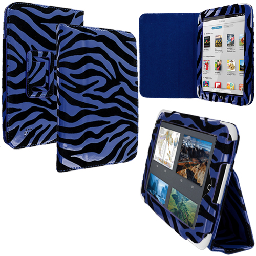 Barnes & Noble Nook HD 7.0 Blue Zebra Folio Pouch Case Cover Stand