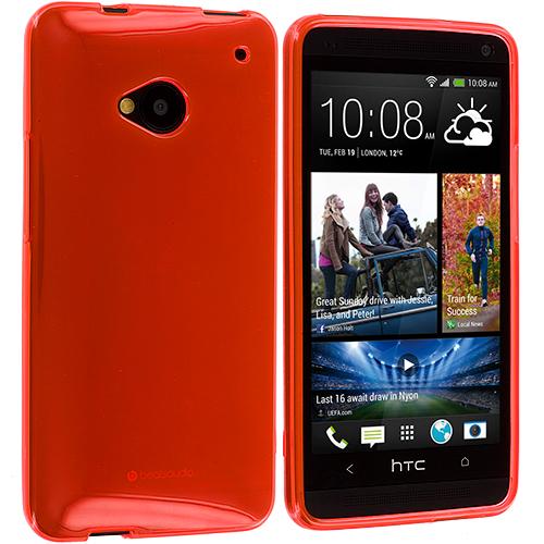 HTC One M7 Orange Plain TPU Rubber Skin Case Cover