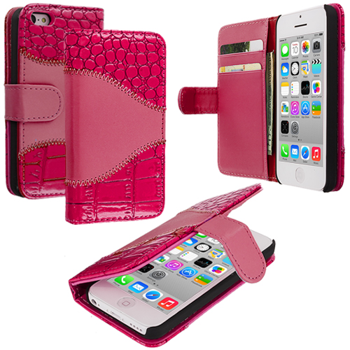 Apple iPhone 5C Hot Pink Crocodile Leather Wallet Pouch Case Cover with Slots