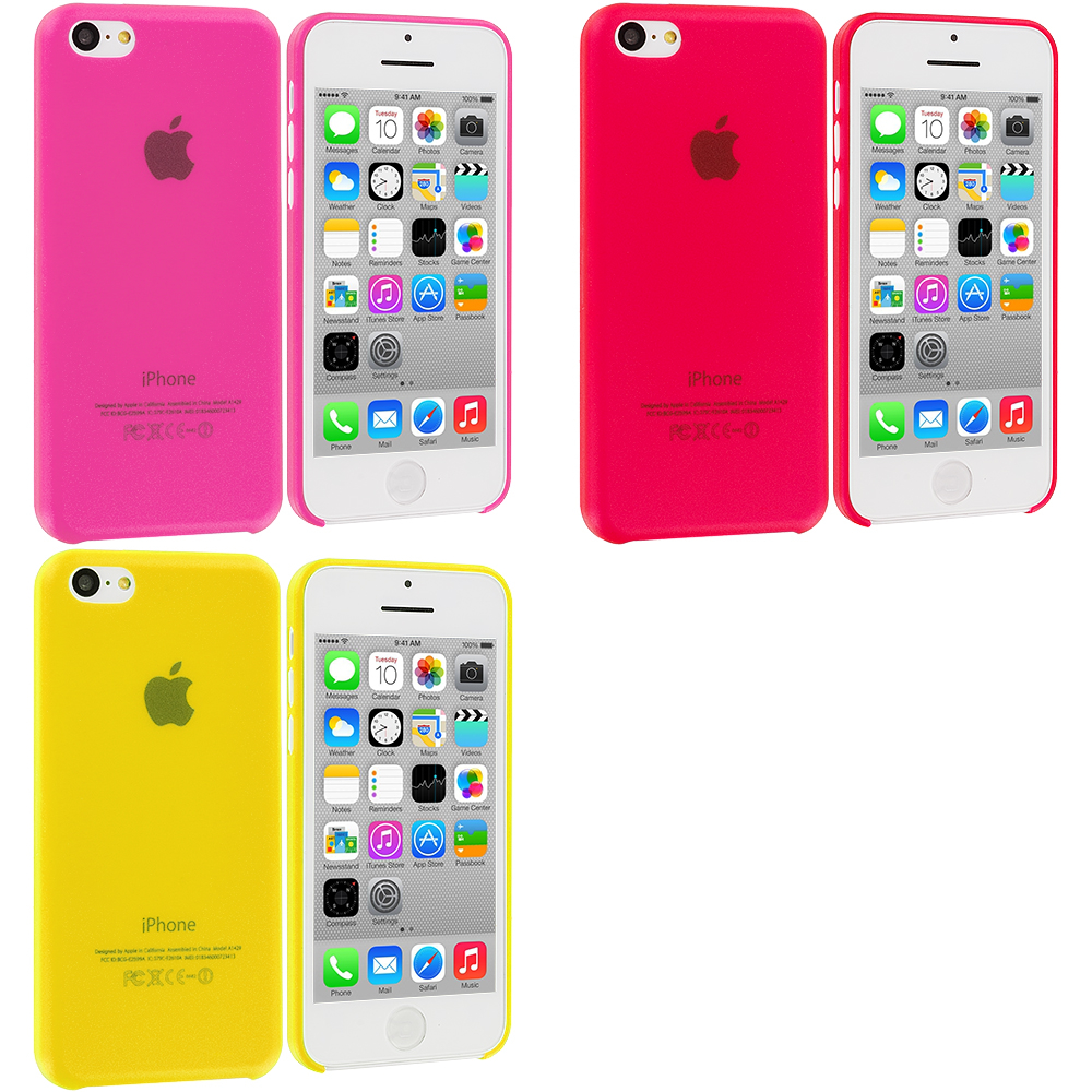 Apple iPhone 5C 3 in 1 Combo Bundle Pack - Hot Pink Yellow 0.3mm Crystal Hard Back Cover Case