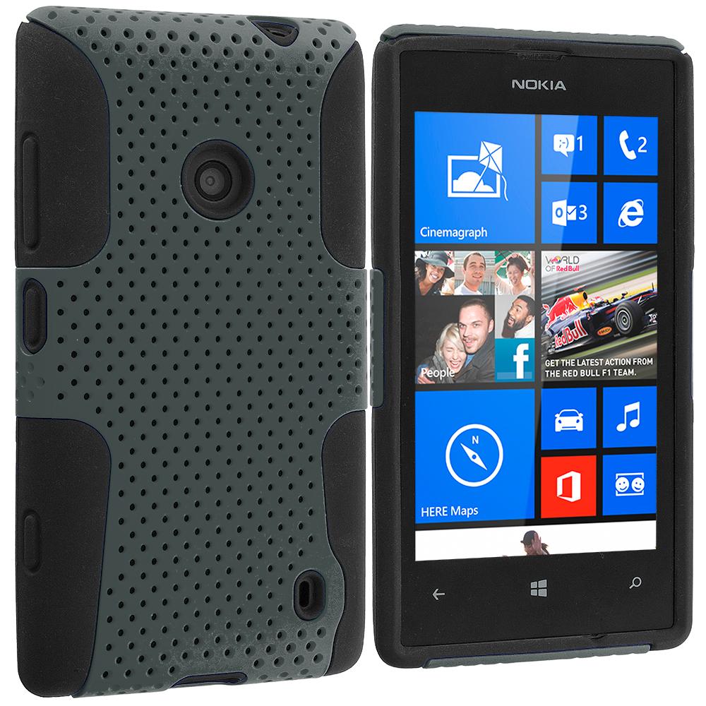 Nokia Lumia 520 Black / Gray Hybrid Mesh Hard/Soft Case Cover