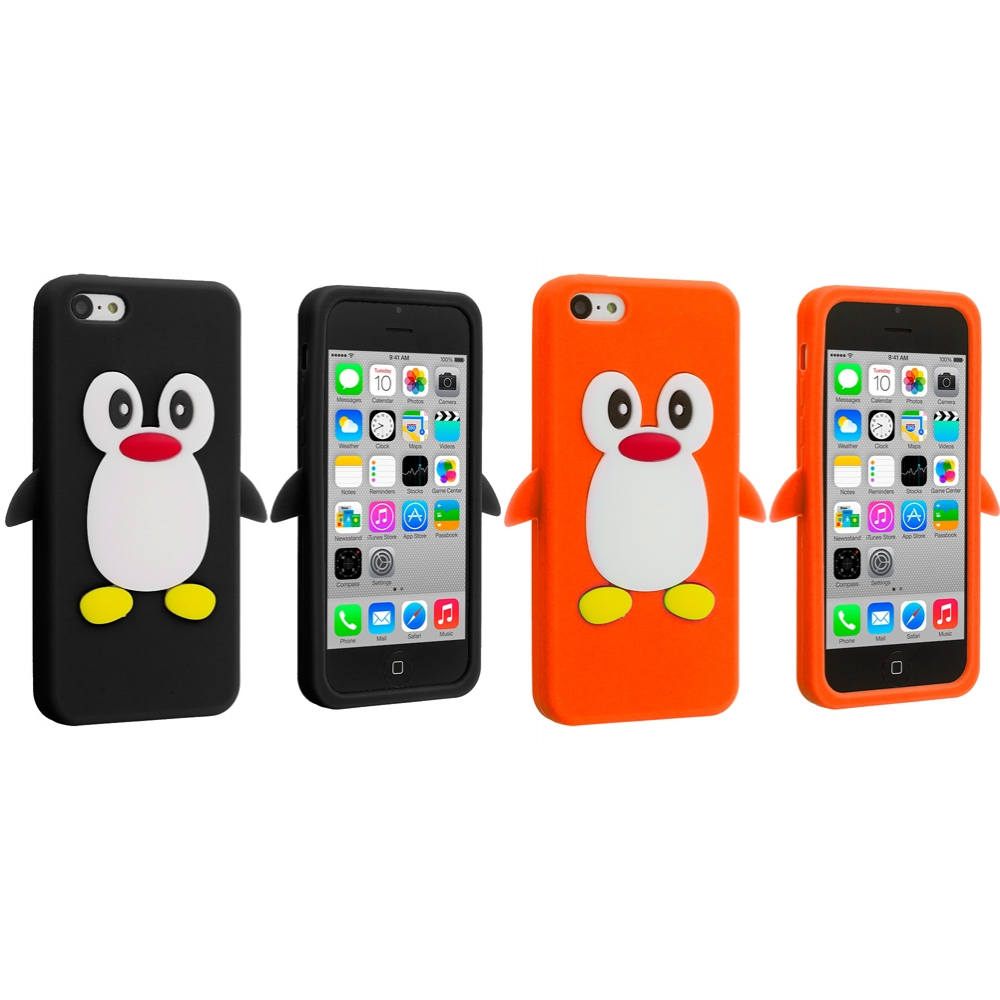 Apple iPhone 5C 2 in 1 Combo Bundle Pack - Black Orange Penguin Silicone Design Soft Skin Case Cover