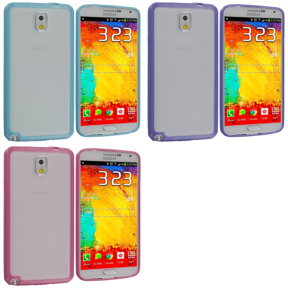 Samsung Galaxy Note 3 N9000 3 in 1 Combo Bundle Pack - Blue Purple Pink TPU Plastic Hybrid Case Cover