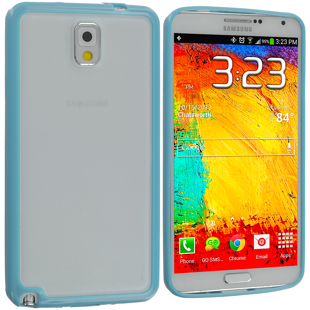 Samsung Galaxy Note 3 N9000 3 in 1 Combo Bundle Pack - Blue Purple Pink TPU Plastic Hybrid Case Cover : Color Baby Blue