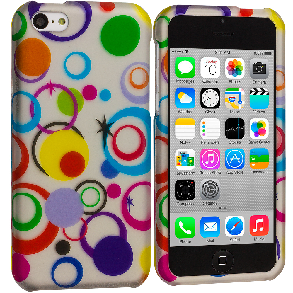 Apple iPhone 5C 2 in 1 Combo Bundle Pack - Colorful Circle on White Hard Rubberized Design Case Cover : Color Colorful Circle on White