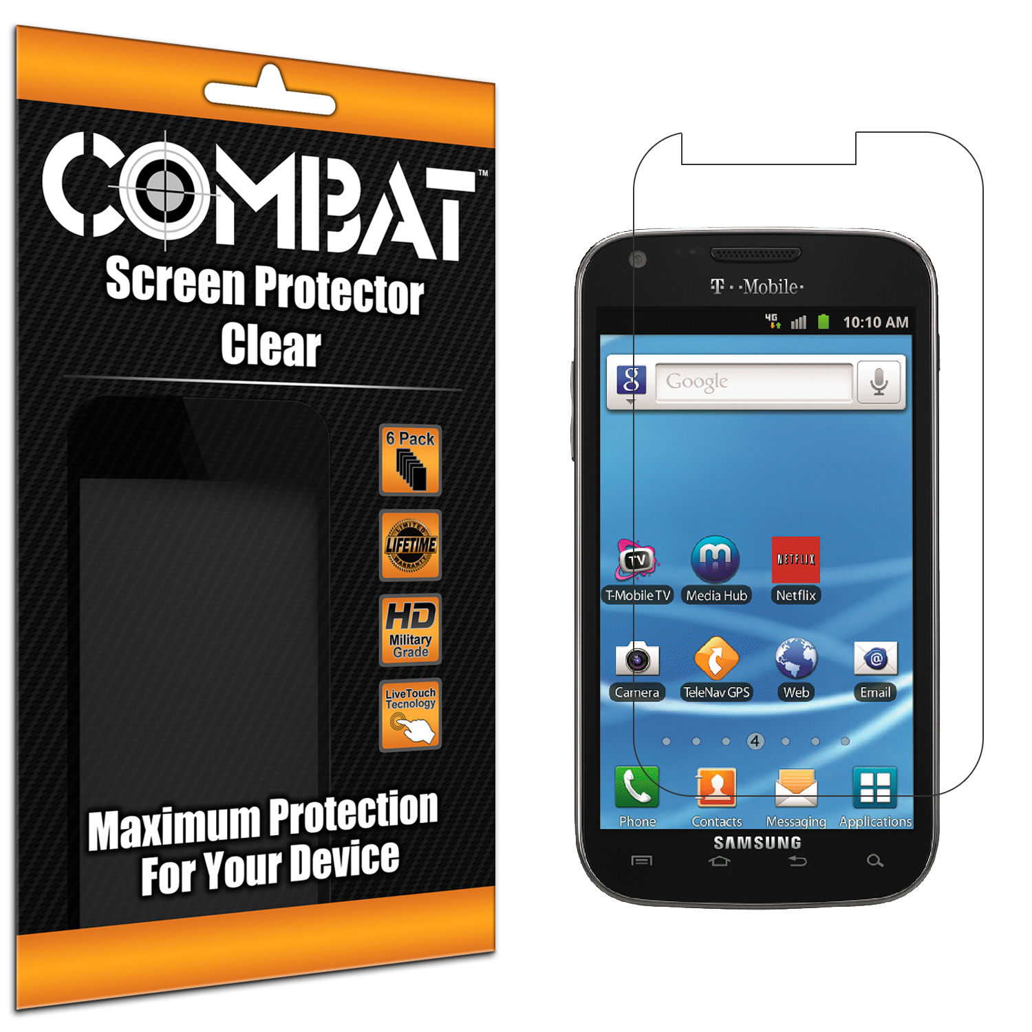 Samsung Hercules T989 T-Mobile Galaxy S2 Combat 6 Pack HD Clear Screen Protector