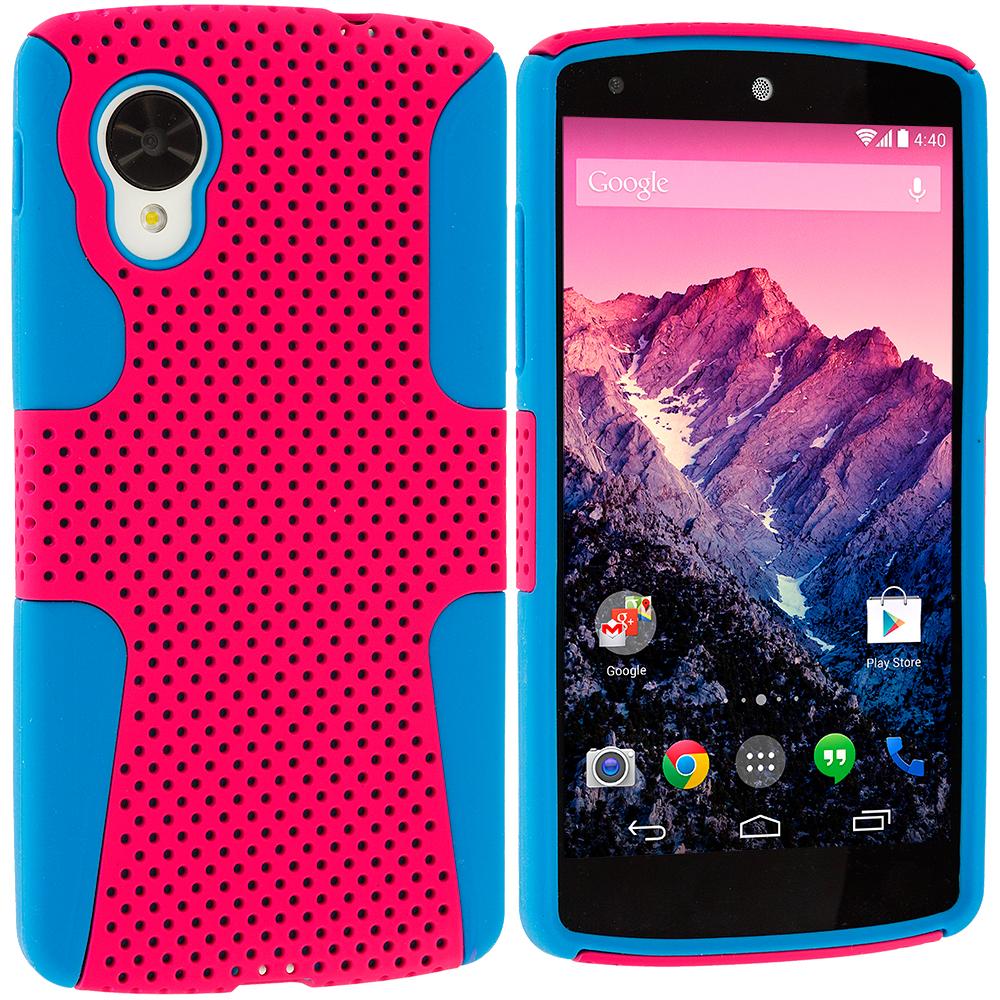 LG Google Nexus 5 Baby Blue / Hot Pink Hybrid Mesh Hard/Soft Case Cover