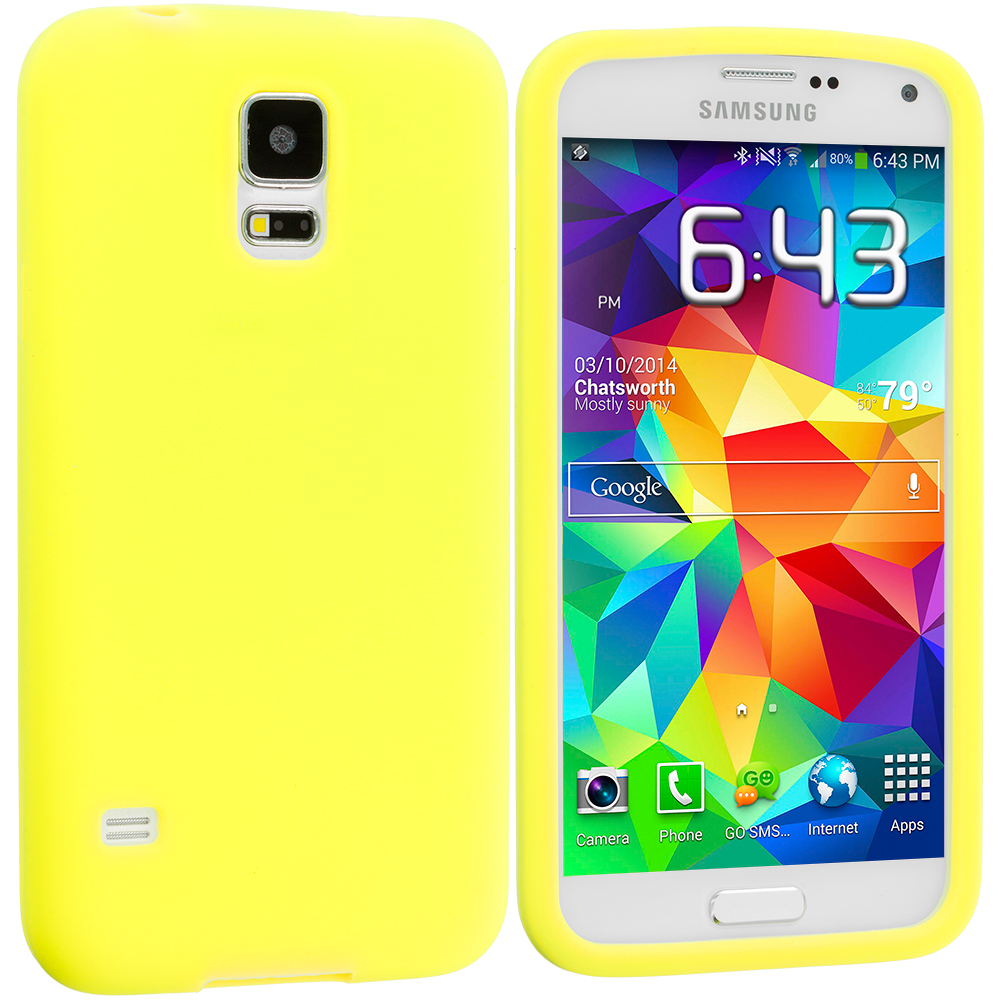 Samsung Galaxy S5 2 in 1 Combo Bundle Pack - White Yellow Silicone Soft Skin Case Cover : Color Yellow