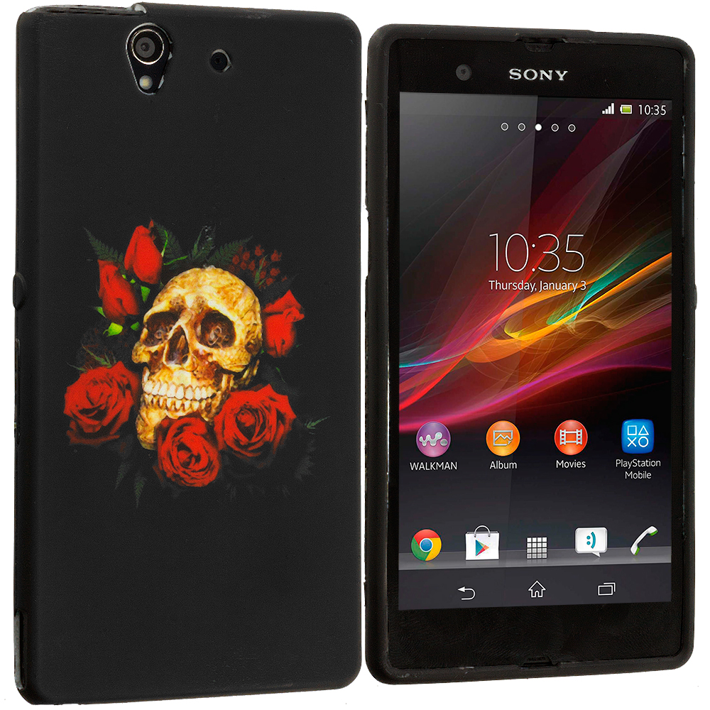 Sony Xperia Z Red Rose Skull TPU Design Soft Case Cover