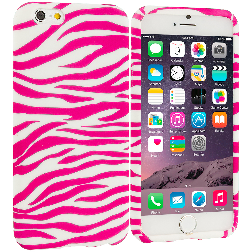 Apple iPhone 6 6S (4.7) 8 in 1 Combo Bundle Pack - TPU Design Soft Case Cover : Color Pink / White Zebra