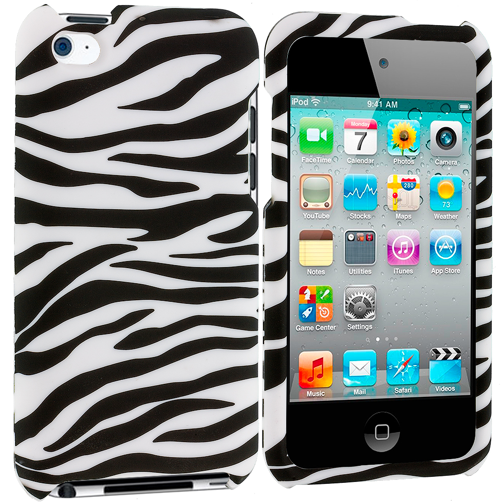 Apple iPod Touch 4th Generation Black/White Zebra Hard Rubberized Design Case Cover