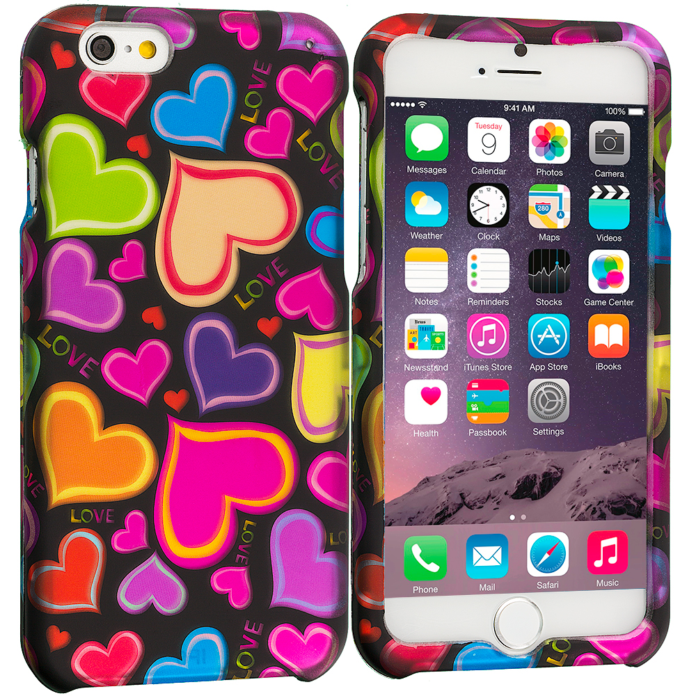 Apple iPhone 6 6S (4.7) Rainbow Hearts Black 2D Hard Rubberized Design Case Cover