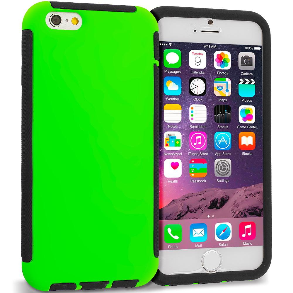Apple iPhone 6 Plus 6S Plus (5.5) 6 in 1 Combo Bundle Pack - Hybrid Hard TPU Shockproof Case Cover With Built in Screen Protector : Color Black / Neon Green