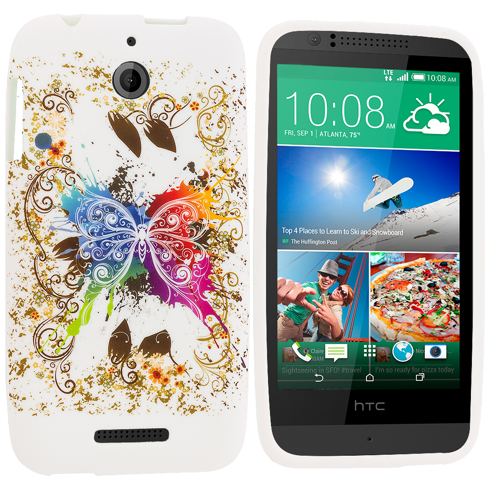 HTC Desire 510 Colorful Butterfly TPU Design Soft Rubber Case Cover