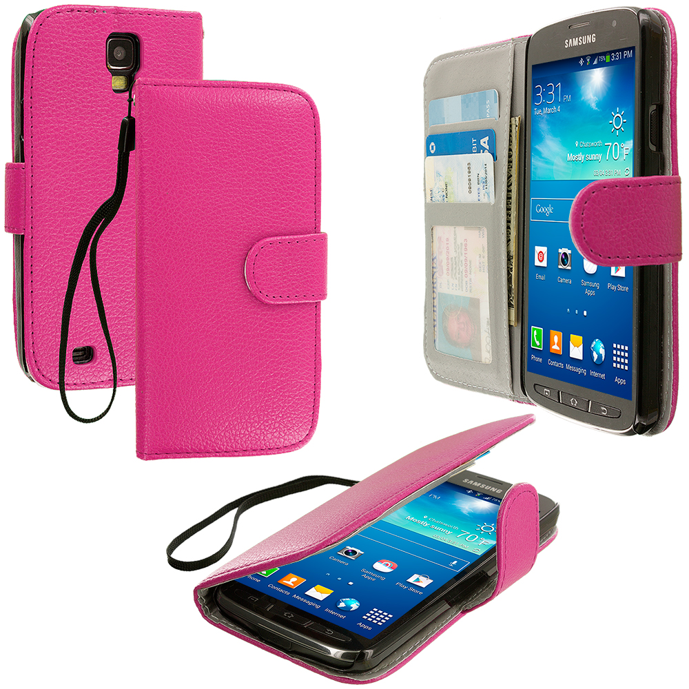 Samsung Galaxy S4 Active i537 Hot Pink Leather Wallet Pouch Case Cover with Slots