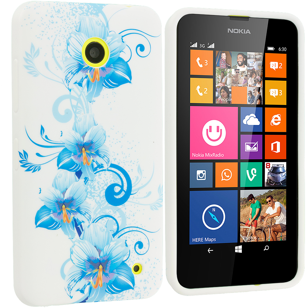 Nokia Lumia 630 635 Blue White FLower TPU Design Soft Rubber Case Cover