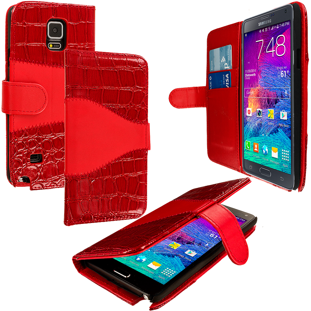 Samsung Galaxy Note 4 Red Crocodile Leather Wallet Pouch Case Cover with Slots