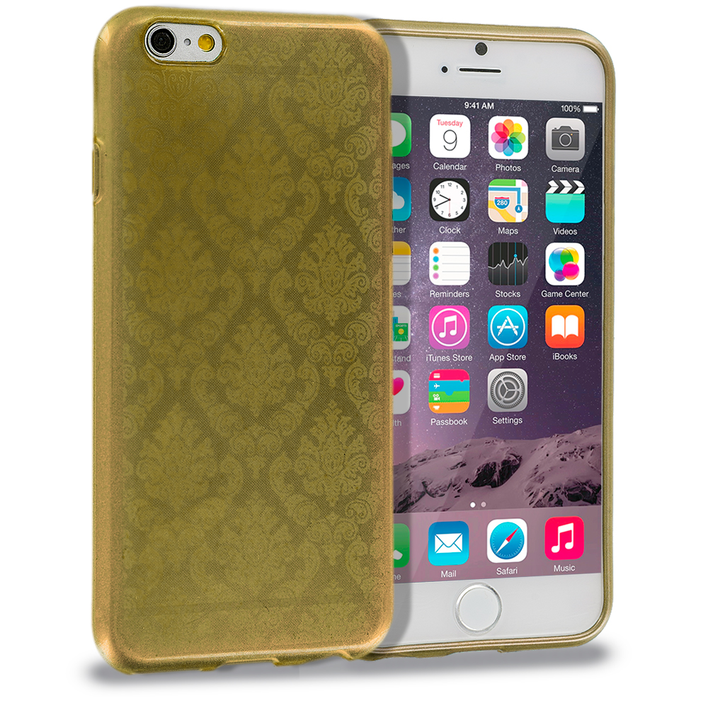 Apple iPhone 6 Plus 6S Plus (5.5) Gold TPU Damask Designer Luxury Rubber Skin Case Cover