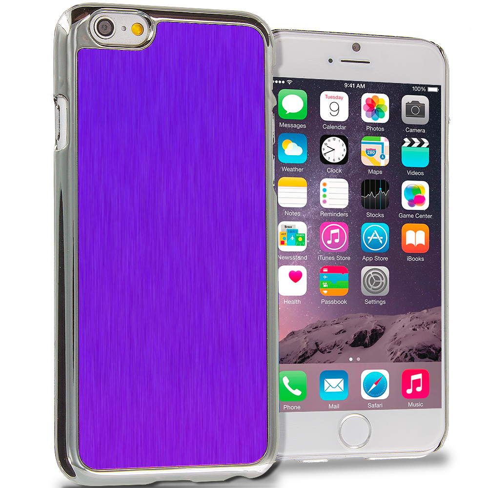 Apple iPhone 6 6S (4.7) 6 in 1 Combo Bundle Pack - Aluminum Metal Hard Case Cover : Color Purple Brushed