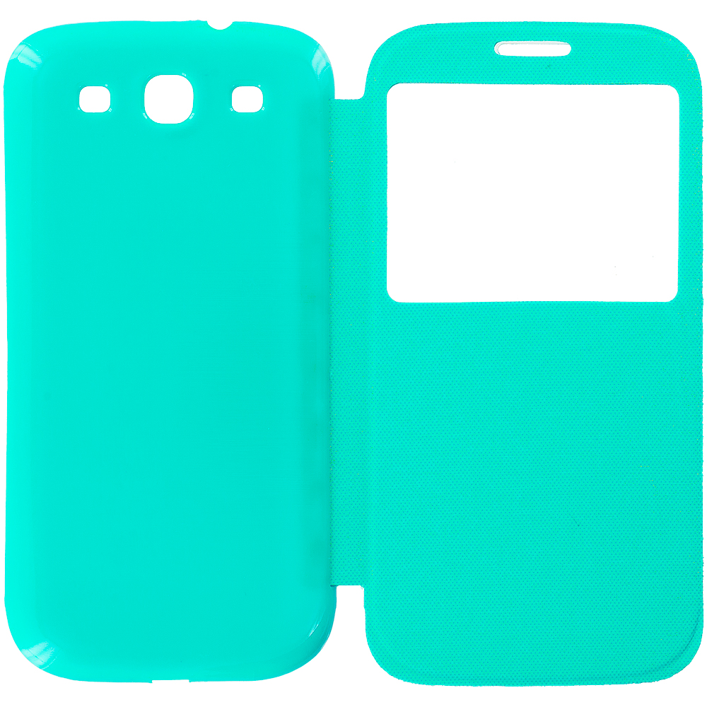 Samsung Galaxy S3 Teal Battery Door Rear Replacement Ultra Slim Wallet Flip Case Cover