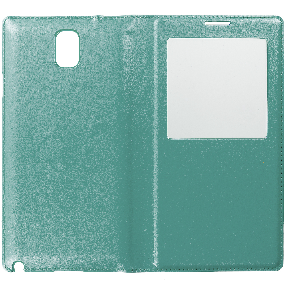 Samsung Galaxy Note 3 N9000 Teal Battery Door Rear Replacement Ultra Slim Wallet Flip Case Cover