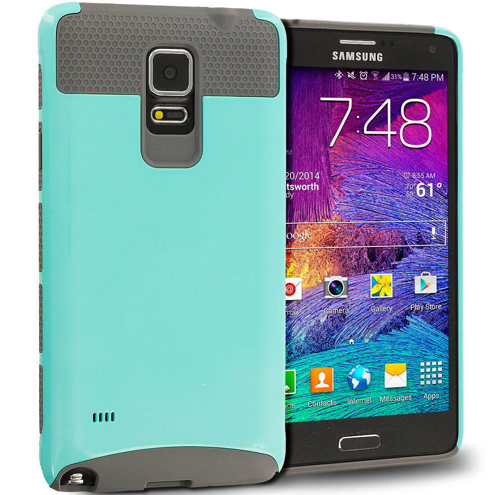 Samsung Galaxy Note 4 Mint / Grey Hybrid Hard TPU Honeycomb Rugged Case Cover