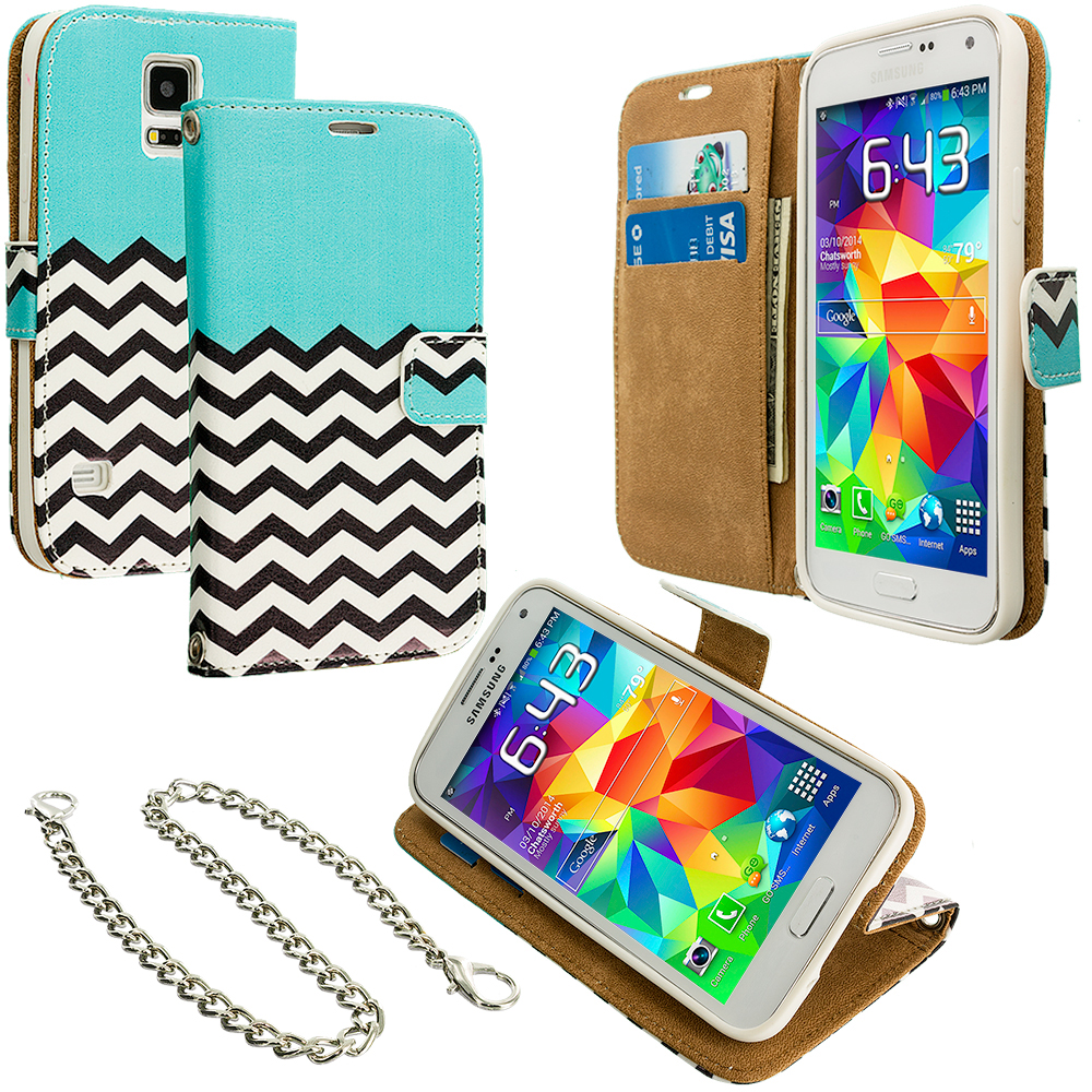 Samsung Galaxy S5 Active Mint Green Zebra Leather Wallet Pouch Case Cover with Slots