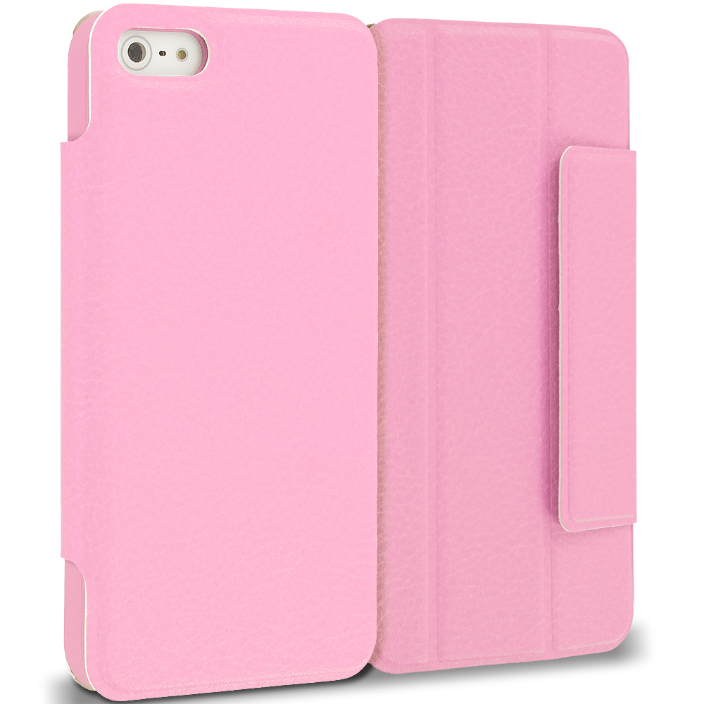 Apple iPhone 5/5S/SE Pink Tri-Fold Leather Wallet Case Cover Pouch