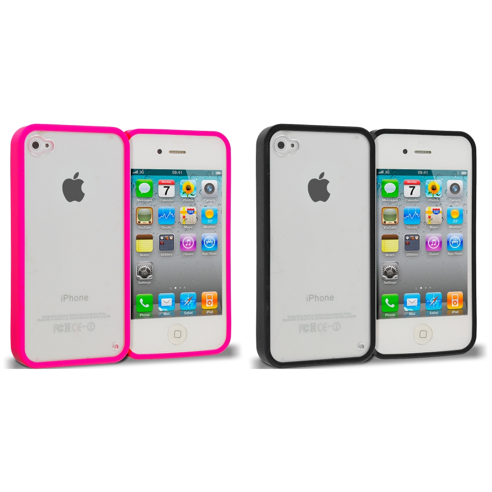 Apple iPhone 4 / 4S 2 in 1 Combo Bundle Pack - Black Pink TPU Plastic Hybrid Case Cover