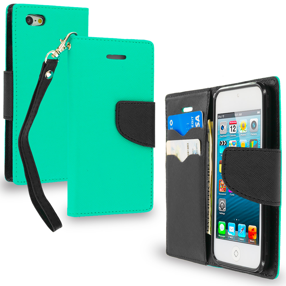 Apple iPod Touch 5th 6th Generation Mint Green / Black Leather Flip Wallet Pouch TPU Case Cover with ID Card Slots