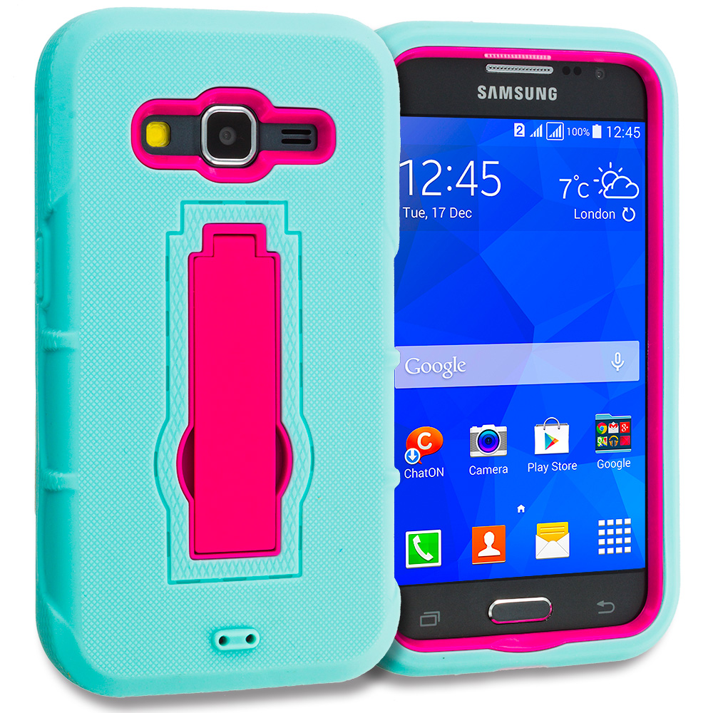 Samsung Galaxy Prevail LTE Core Prime G360P Combo Pack : Blue / Black Hybrid Heavy Duty Hard Soft Case Cover with Kickstand : Color Teal / Hot Pink