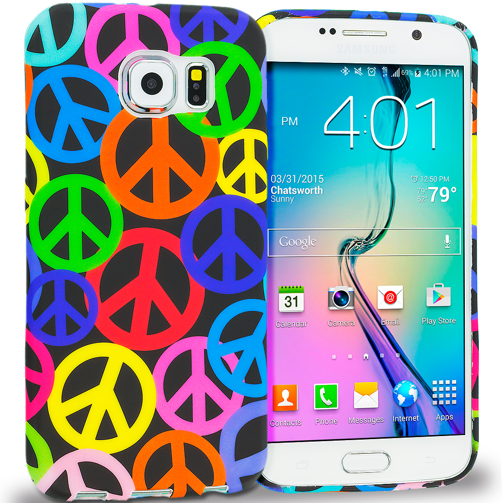 Samsung Galaxy S6 Peace Sign TPU Design Soft Rubber Case Cover