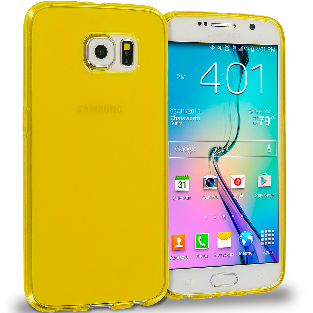 Samsung Galaxy S6 11 in 1 Combo Bundle Pack - Baby Blue Plain TPU Rubber Skin Case Cover : Color Yellow Plain