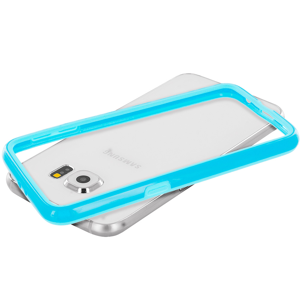 Samsung Galaxy S6 Combo Pack : Yellow TPU Bumper Frame Case Cover : Color Baby Blue