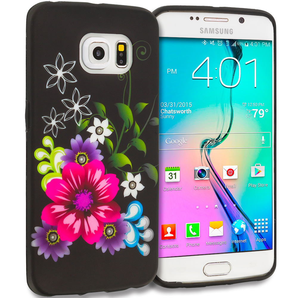 Samsung Galaxy S6 Edge Flowers on Black TPU Design Soft Rubber Case Cover