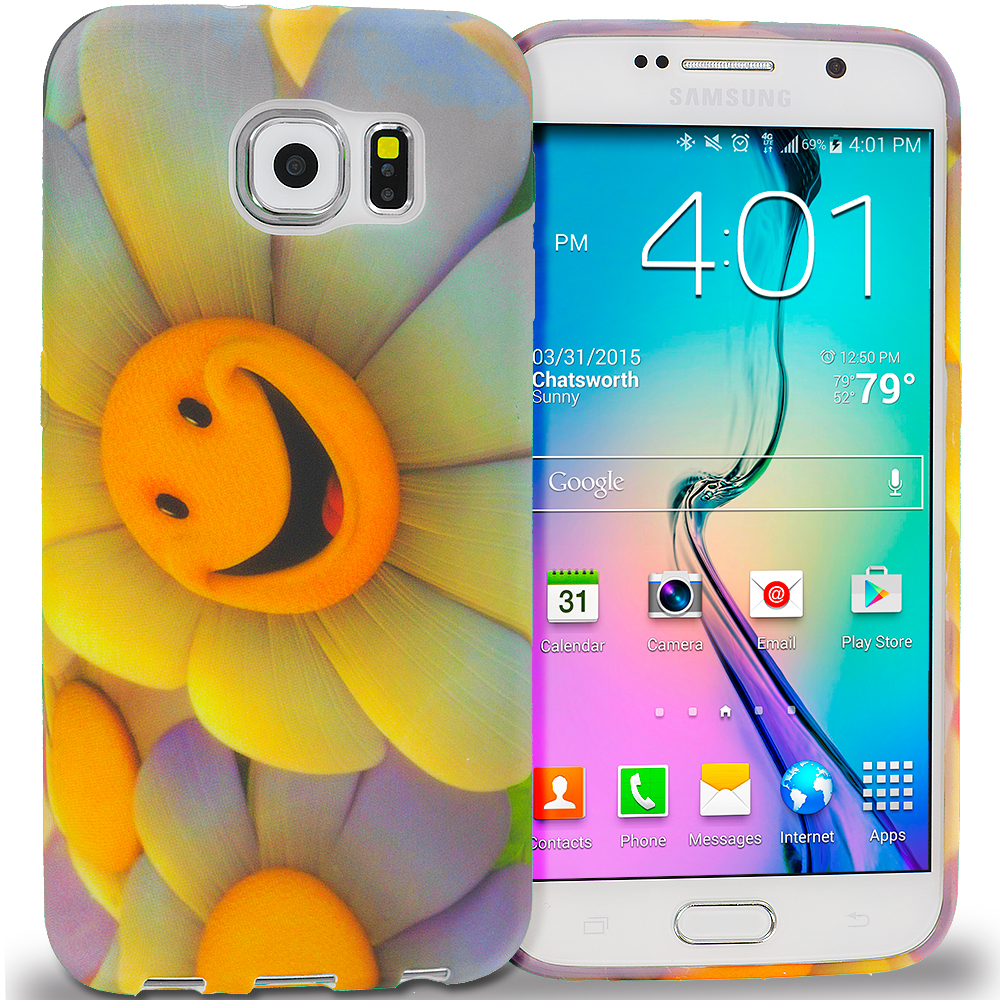 Samsung Galaxy S6 Edge Sunflower TPU Design Soft Rubber Case Cover