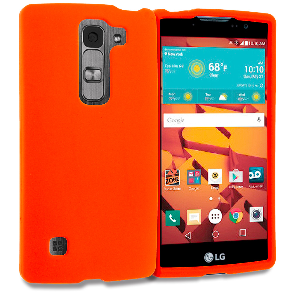 LG Volt 2 LS751 Orange Hard Rubberized Case Cover